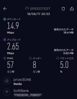 FUJIWifiの通信速度(1回目)
