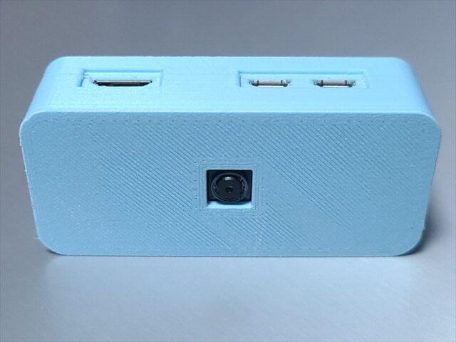カメラモジュールを内蔵可能なRaspberry Pi Zero WHのケース前面